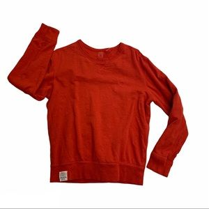 POLO RALPH LAUREN red crew neck waffle lined shirt